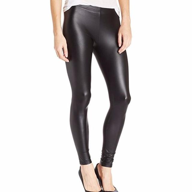Nowa wiosna jesień spodnie Plus rozmiar elastyczny pas Slim Fit moda wysokiej stretch legginsy Faux spodnie skórzane kobiety legginsy S-XXL