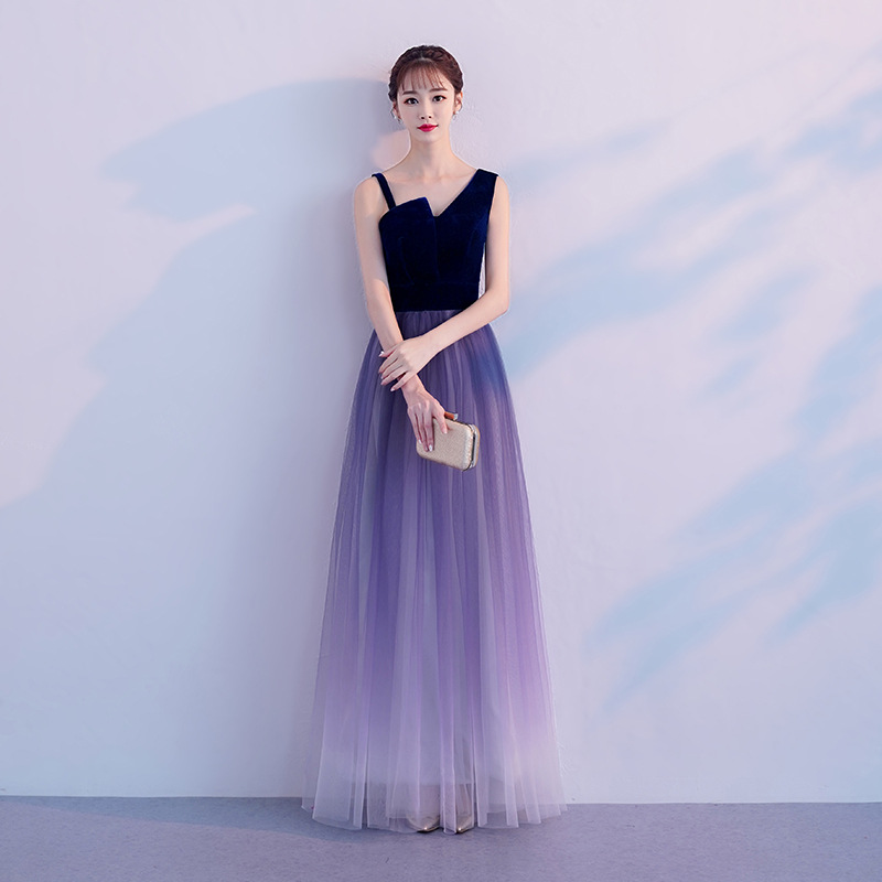 Noble Women Banquet Dresses Elegant One Shoulder Cheongsam Sexy Backless Slim Qipao Evening Party Dress Gown