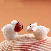 10pcs Miniature Animal Cute Mini Cabochons Sheep Goat Resin Figurines Micro Landscape Fairy Garden Terrarium Accessories