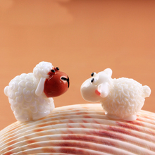 10pcs Miniature Animal Cute Mini Kawaii Cabochons Sheep Goat Resin Figurines Micro Landscape Fairy Garden Terrarium Accessories