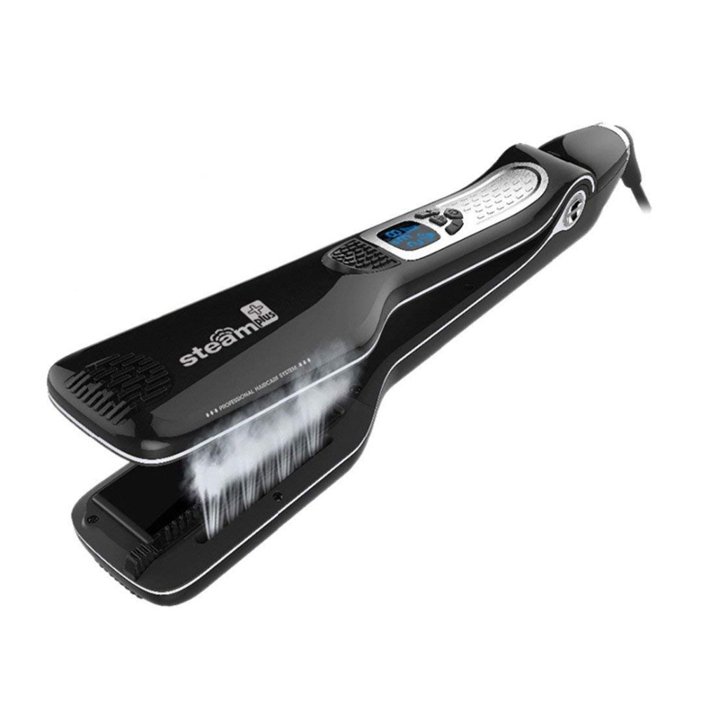 Jet de vapeur professionnel rapide électrique brosse lisse titane céramique cheveux lisseur peigne vapeur fer plat avec LCD
