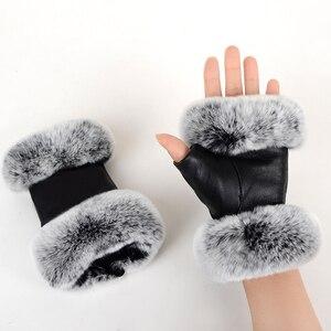 Image 3 - חורף אופנה שחור חצי אצבע כפפות עור אמיתי כבשים עור ארנב פרווה חצי אצבע ללא אצבעות כפפות ארנב פרווה פה