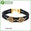 Design clássico 2 camadas de prata fivela arraia pulseiras, homens pulseiras de pele de arraia BC Frete Grátis