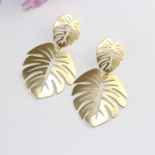 Women Temperament Big Monstera Leaf Drop Earrings Fashion Vintage Geometric Hollow Metal Earring For Jewelry