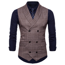 2019 New Plaid Suit Vest Mens Fashion Business Casual British Style Gentleman Dress Waistcoat