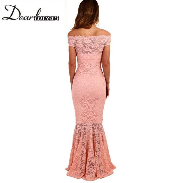 f1ec6b546fe Online Shop Dear lover White Bardot Lace Fishtail Maxi Dress Summer ...