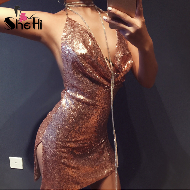 ... Sexy Sequined Bodycon Dress Women Kendall Jenners 21st Birthday Club  Wear Sexy Halter Backless Bodycon Mini ... 4153bcb5105a