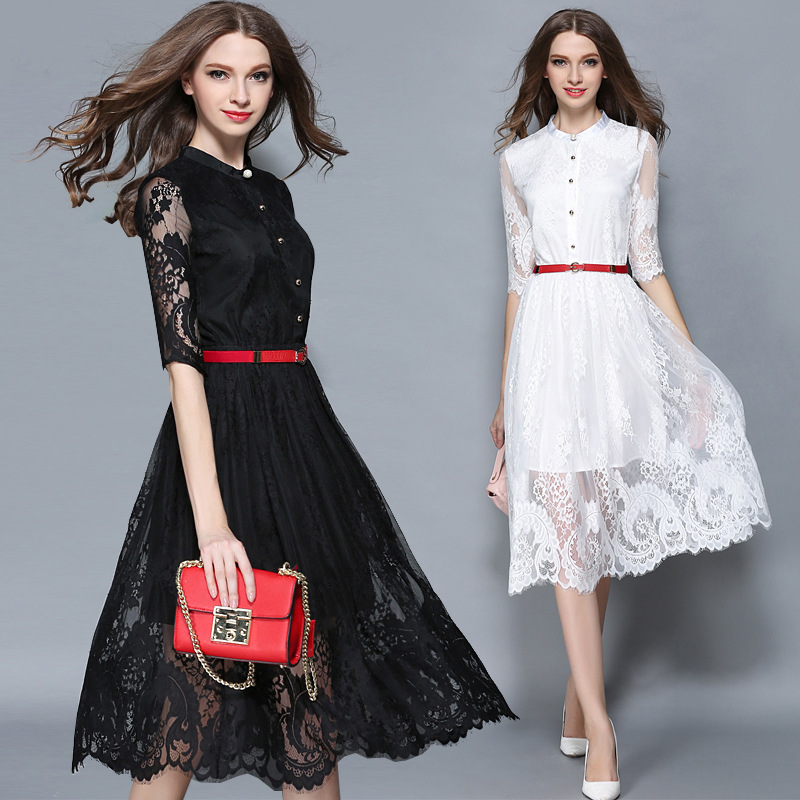 e0bae3e72638a US $41.4 |White Lace Dress Women Bohemian Birthday Party Dress Sashes  Female Casual Fashion Hollow Out Half Sleeve Lace Dresses vestidos-in  Dresses ...