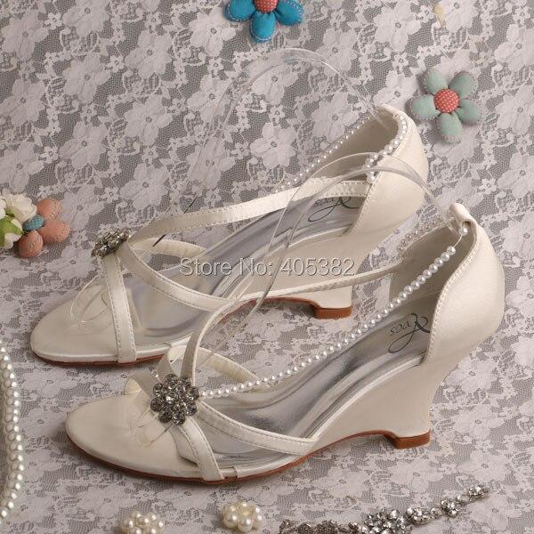 wedopus unique wedge sandals ivory satin wedding shoes bridalchina mainland