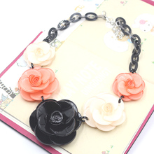 CC collier acrylic flowers necklace 2016 ZHONGLV Spring Luxury Jewelry Chain Resin Flower ZA Statement Necklaces for women