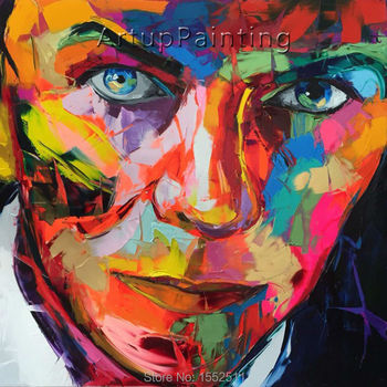 Palette knife painting portrait Palette knife Face Oil painting Impasto figure on canvas Hand painted Francoise Nielly 16-18