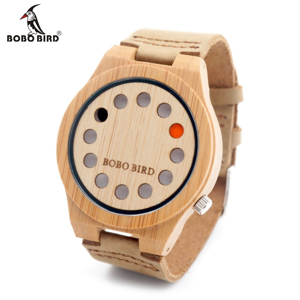 BOBO BIRD Unisex Wrist watch 12 Wholes Leather Band Men's Wooden Quartz Watch With Gift Box bobo bird brand new sun glasses men square wood oversized zebra wood sunglasses women with wooden box oculos 2017