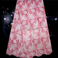 5yards Lot PO7 6 Pink White Beautiful African Double Organza Lace With Sequins Big Quality