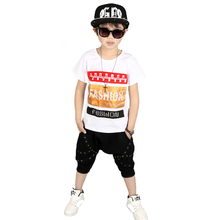 2017 New Fashion Boy set Kids hip hop clothes Boys summer season garments 100% Cotton t-shirt+boys shorts 2pcs for three 5 6 eight 10 12 years
