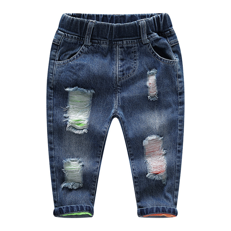 Baby Boy Pants Autumn Winter Kids Jeans Fashion Holes Jeans for Boy Mid Elastic Waist Casual Denim Toddler Children Trouser