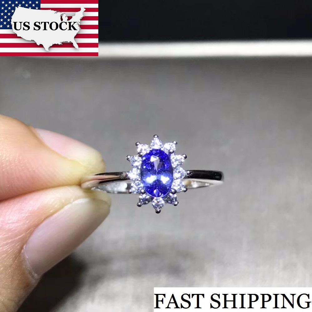 Natural Tested Tanzanite Gemstone Ring 925 Sterling Silver 4 6mm Gemstone Jewelry Wedding Anniversary Ring for