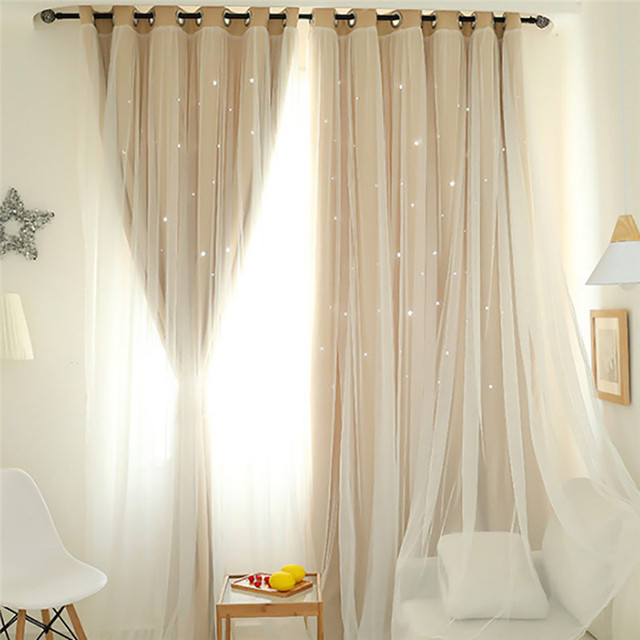 Starry Sky Sheer Curtain Tulle Window Treatment Voile Drape Valance Double Deck For Living Room Bedroom