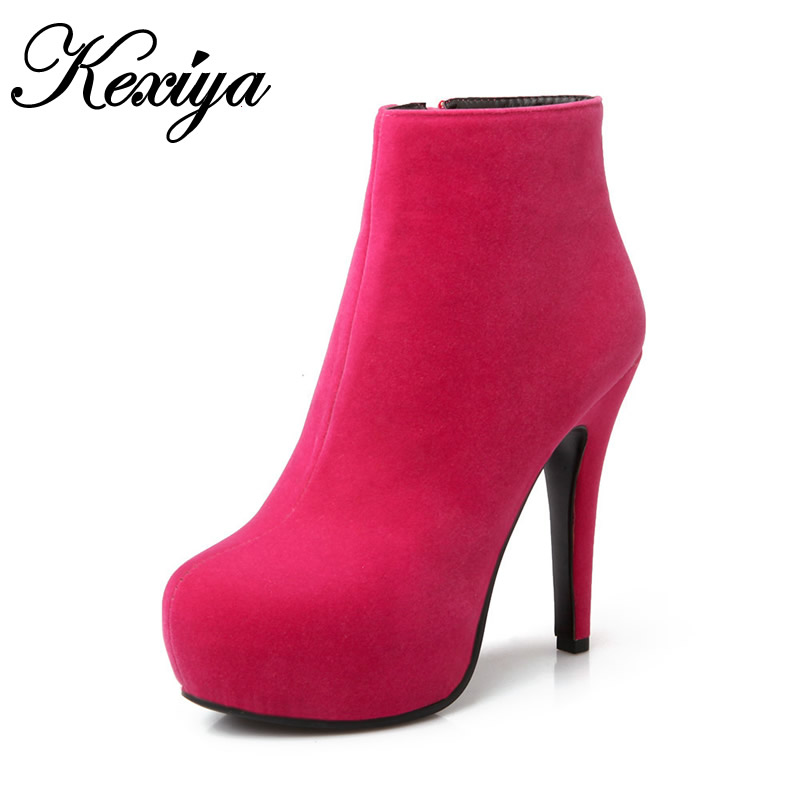 2016 New fashion winter women shoes big size 31-45 sexy Platform high heels Solid Round Toe ladies Ankle boots HLE-66-1 big size 33 45 short boots fashion winter red women wedding shoes sexy round toe platform high heels ankle boots zapatos mujer