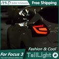 AKD Estilo Do Carro Lâmpada de Cauda LEVOU para Luzes Traseiras Foco Foco 3 Escotilha Volta LEVOU Cauda Lâmpada Traseira Luz DRL + freio + Parque + Sinal