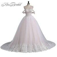 جديد فاخر الأميرة منتفخ فساتين الزفاف رداء دي mariee الكرة ثوب تول الرباط زين أثواب الزفاف مخصص