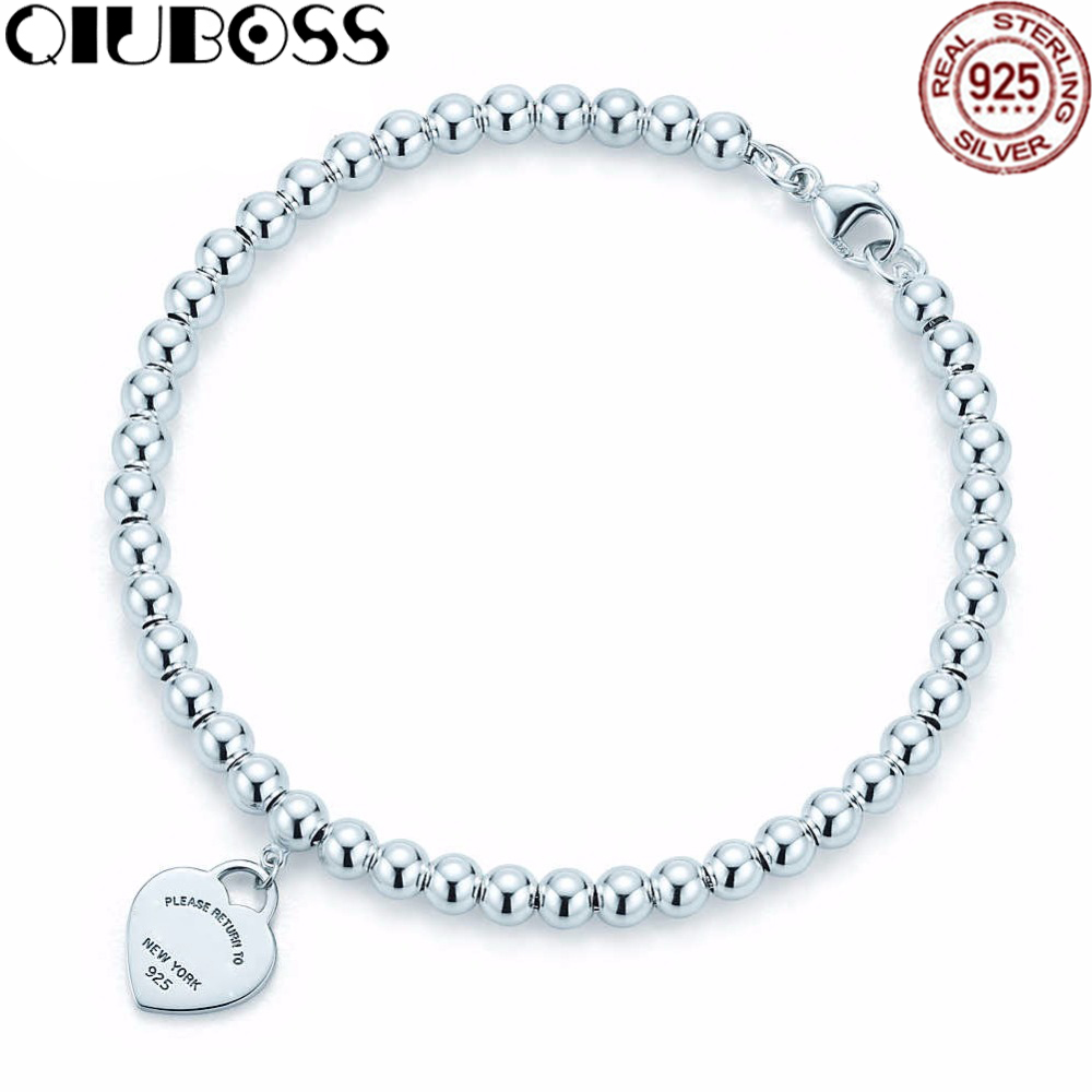 QIUBOSS TIFF 925 Sterling Silver New Fashion Heart-Shaped Ladies Bracelet Suitable For DIY Holiday Gifts personalized heart shaped bracelet