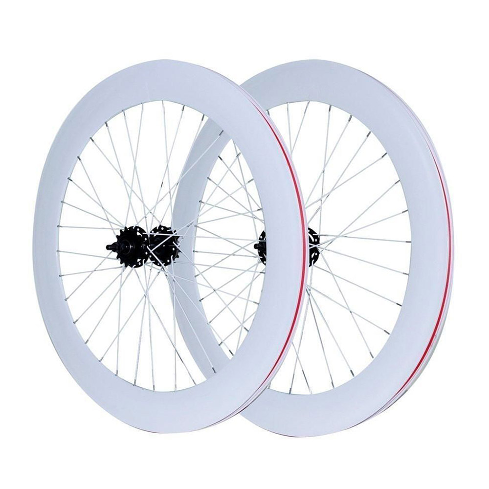 Vélo à pignon fixe roues 70mm jante en alliage d'aluminium roues à bascule jante de vélo de route fixie roues de vélo de piste - 2