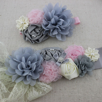 2pcs/set Fashion sliver grey sash and matching headband chiffon shabby flower sash belt girl flower sash Maternity belt