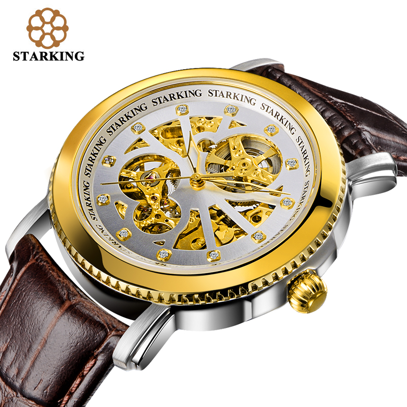 ФОТО STARKING Brand Men Skeleton Automatic Mechanical Luxury Sapphire Crystal Gold Case Genuine Leather Strap Wristwatch Male Clock