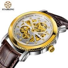STARKING Brand Men Skeleton Automatic Mechanical Luxury Sapphire Crystal Gold Case Genuine Leather Strap Wristwatch Male Clock