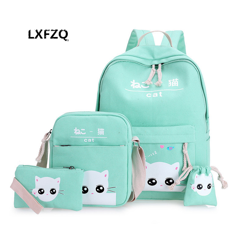 Cat Satchel school bags 4 set /pcs School satchel Backpacks for children School bag for girls mochilas escolares infantis Ocean & Earth