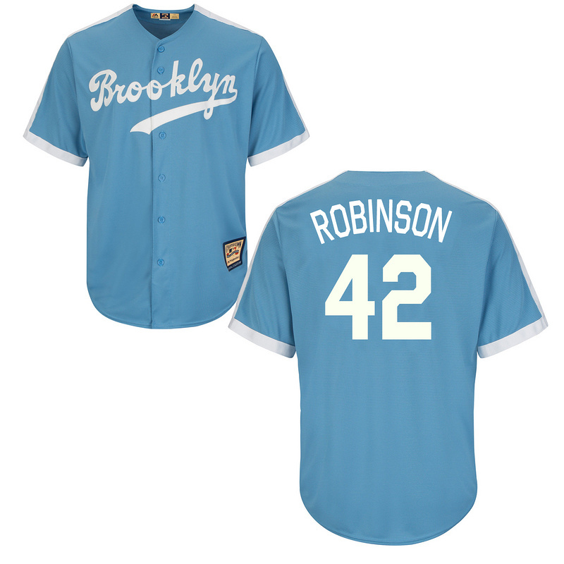 Brooklyn Dodgers Cooperstown 42 Jackie Robinson 66 Yasiel Puig 34  Valenzuela 23 Adrian Gonzalez Throwback baseball jerseys blue-in Baseball  Jerseys from ... d46cb172303