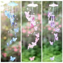 Creative Crystal Butterfly Mobile Wind Chime Bell Garden Ornament Gift Yard Living Hanging Decor Art