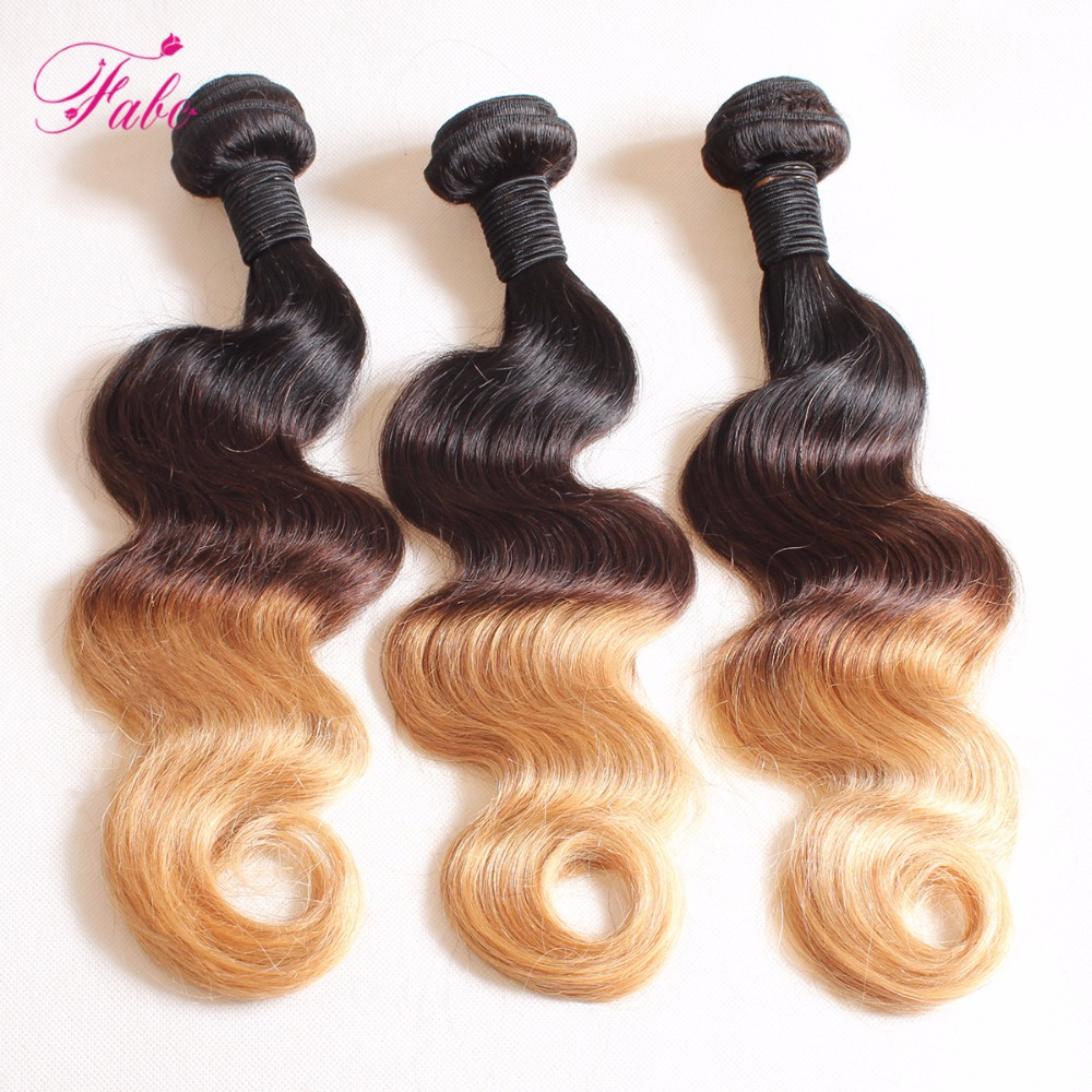 Fabc Hair Ombre Body Wave hair three tone 1b/4/27 10-26 inch Non-Remy 100%Human Hair weave bundles can buy more pieces