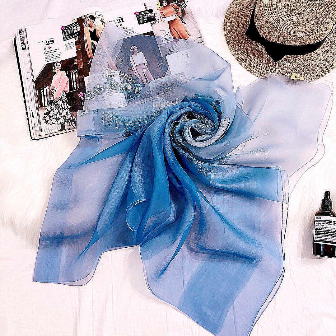 Шарф из натурального шелка, женская новая весенняя корейская мода, постепенная смена цвета, длинная Вышитая Шаль, Высококачественная шелково-шерстяной шарф