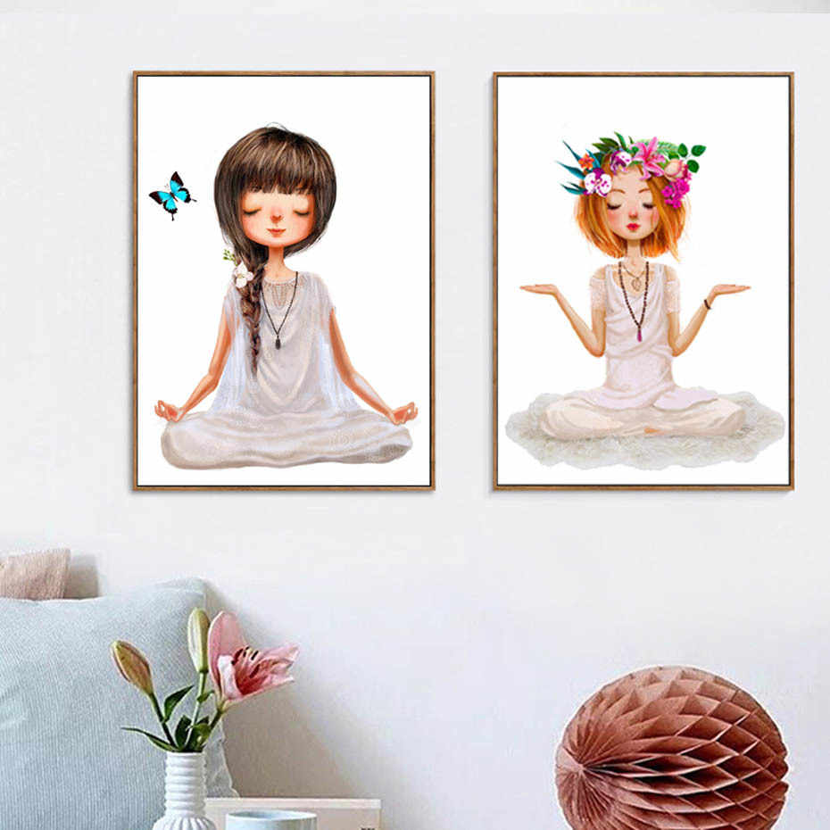 Lovely Yoga Girl Poster Canvas Paintings Wall Art Printings on Canvas Pictures For Living Room Girl's Room Home Decorations
