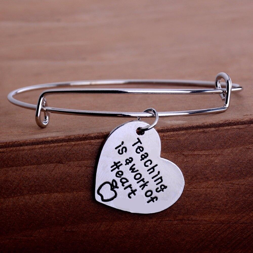 Bespmosp Teachers Day Gift Bracelets Teaching is A Work of Heart Apple Love Pendant Wire Charm Bangle Fashion Women Jewelry