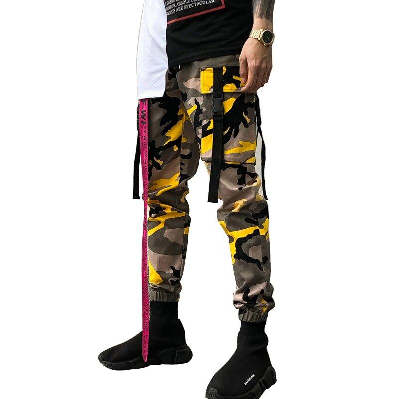 2018 Spring Autumn Stylish Military camouflage pants men Orange Army green Black White Purple Ribbon Ankle tie