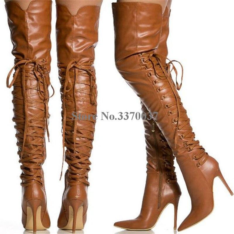 De Nueva Talón Largo Zapatos Volver Moda Vestido Botas Señoras Estrecha Gladiador Fino Marrón Encaje Cuero Punta fqEWPd