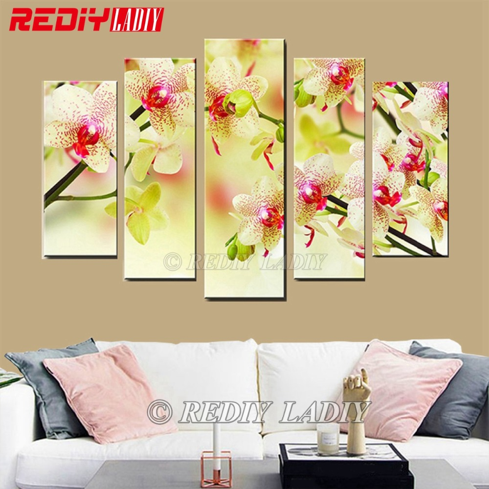 DIY Diamond Painting Triptych Diamond Embroidery Orchid Flower 5 Panels Modular Picture Wall Art Rhinestones Cross
