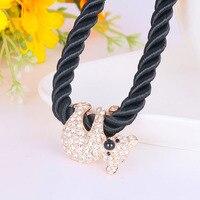 N200360 elegante colar de cristal urso cor de zinco liga de prata cor de rosa de ouro corda preta com a Áustria cristal moda jóias