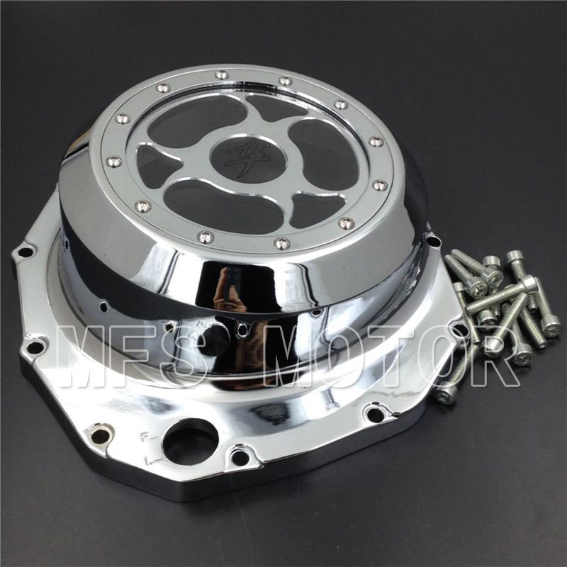 Motorcycle Part See through Engine Clutch Cover For Suzuki GSX1300R Hayabusa 1999-2013 B-king 2008 2009 Chrome aftermarket free shipping motorcycle accessories blue led see through engine clutch cover for suzuki gsx1300r hayabusa b king
