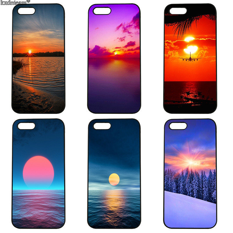 Beautiful Sunset Scenery Mobile Phone Case Hard Cover Fitted for iphone 8 7 6 6S Plus X 5S 5C 5 SE 4 4S iPod Touch 4 5 6 Shell