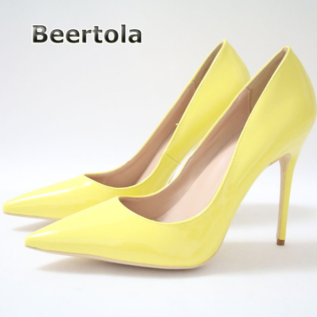a8588a0fa Beertola Sexy Lady Yellow Shoes Fashion Woman Cheap Heels 10cm 12cm Super  High Pinted Toe Heels ON SALE Shoes for Women Pumps