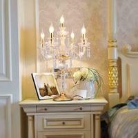 Светодиодные свечи украшения стола свеча Настольная лампа Кристалл канделябры лампы большой ресторан столовая Бар настольные лампы спаль