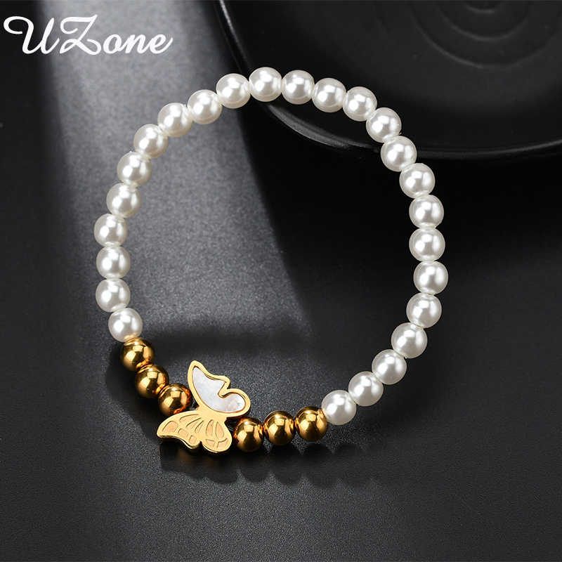 UZone New Fashion Shell Gold Butterfly Bracelets White And Gold Elastic Bangle For Women Accessory