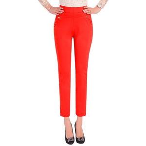 Image 5 - 5XL Pants Women Summer Elastic Slim High Waist Pants Female Trousers Women Casual Streetwear Plus Size Office Ladies Pants Q1427