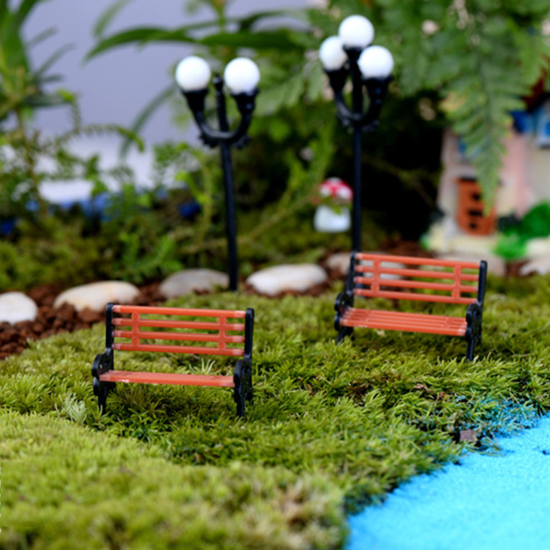 1pcs New Plastic Mini Garden Park Bench Craft Fairy Dollhouse Decor Outdoor Forestwoods Home Wedding Party DIY Decoration