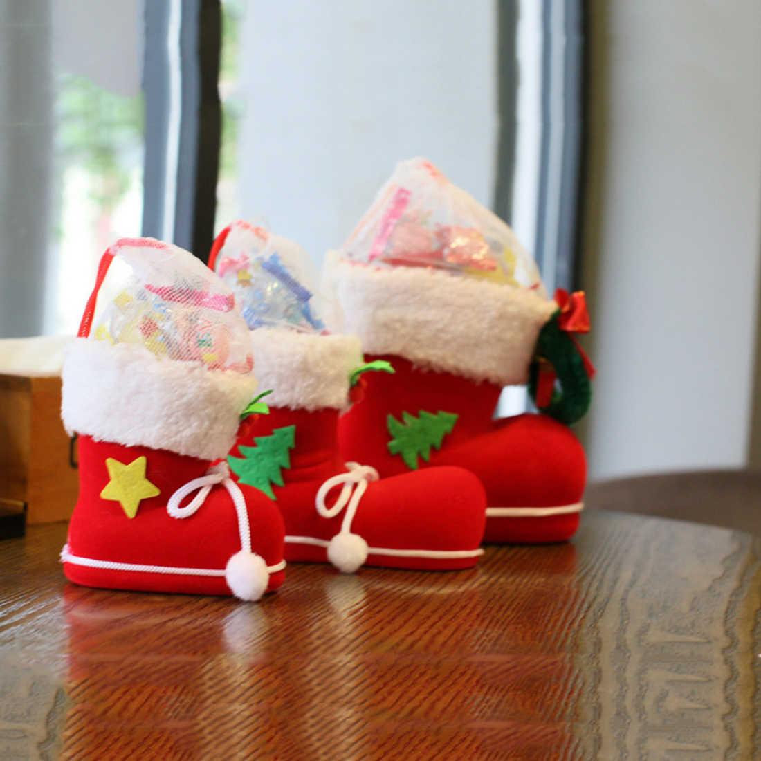 חמוד 4 גודל אתחול בית המפלגה תפאורה חג המולד סנטה קלאוס נעלי ילדי גרב ילד מתנת ממתקי תיקים מחזיק עץ חג המולד קישוט