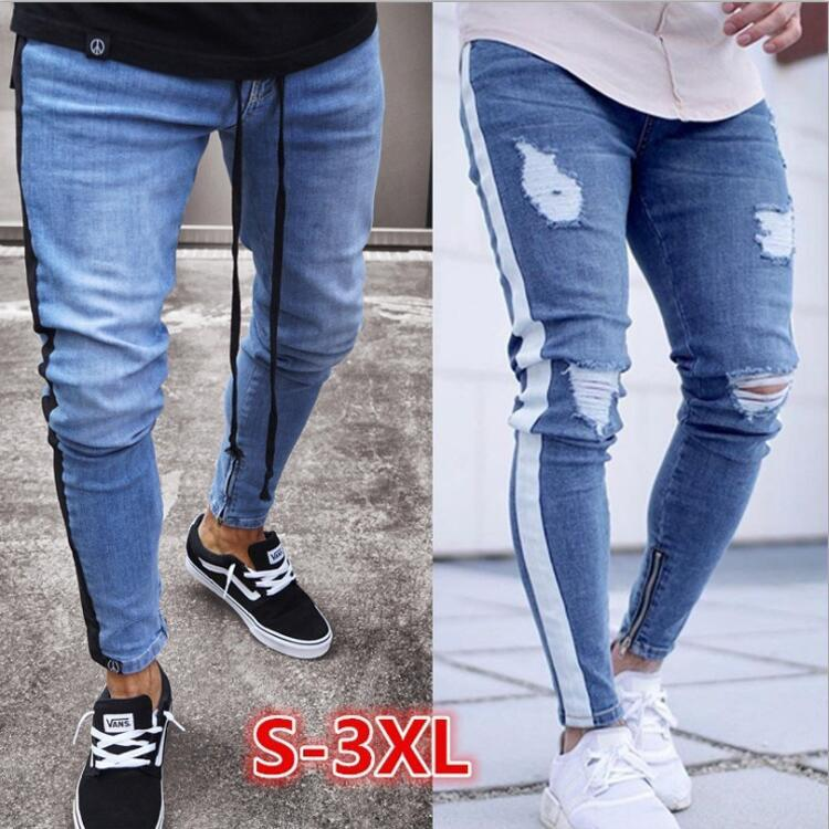 Men's Trend Knee Hole Zipper Foot Hole Burst Models Jeans Men's Small Foot Jeans Weaves Trousers Foot Zipper Jeans Exclusively