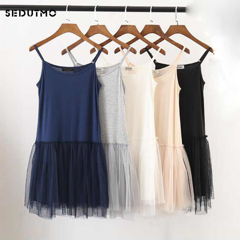 eb9b7dd1c96 SEDUTMO 2018 Summer Tunic Dress Women Gauze Lace Sexy Basic Sundress  Spaghetti Strap Dresses Beach Black